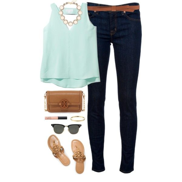 minty by classically-preppy on Polyvore featuring polyvore, fashion, style, J Brand, Tory Burch, J.Crew, Kate Spade, Ganni, Ray-Ban, NARS Cosmetics and Cooper & Ella