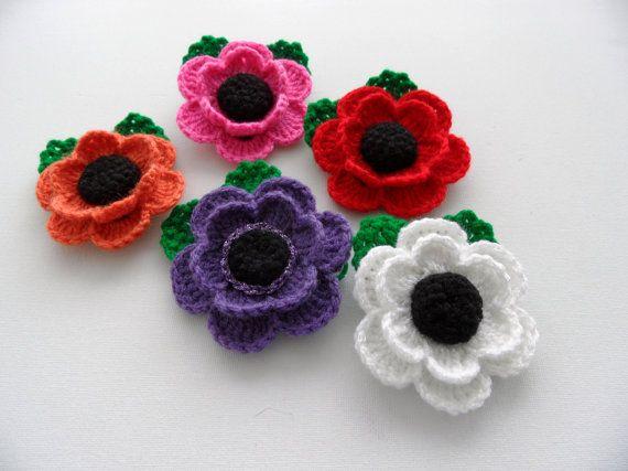 Crochet apliques multicolores flores flores de amapola | Flores en ...