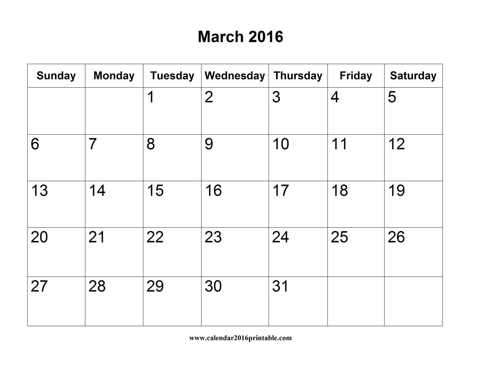 Free March  Calendar Printable Word That You Can Download