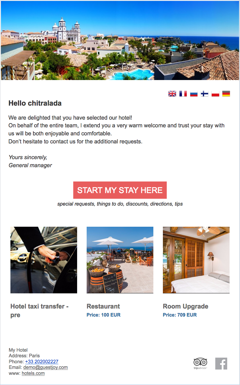 A Sample Of Good Hotel Pre Arrival Email Hotel Template Email