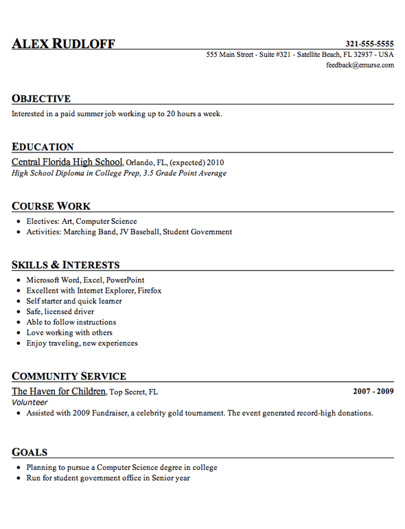 sample high school student resume example - High School Resume For College Examples