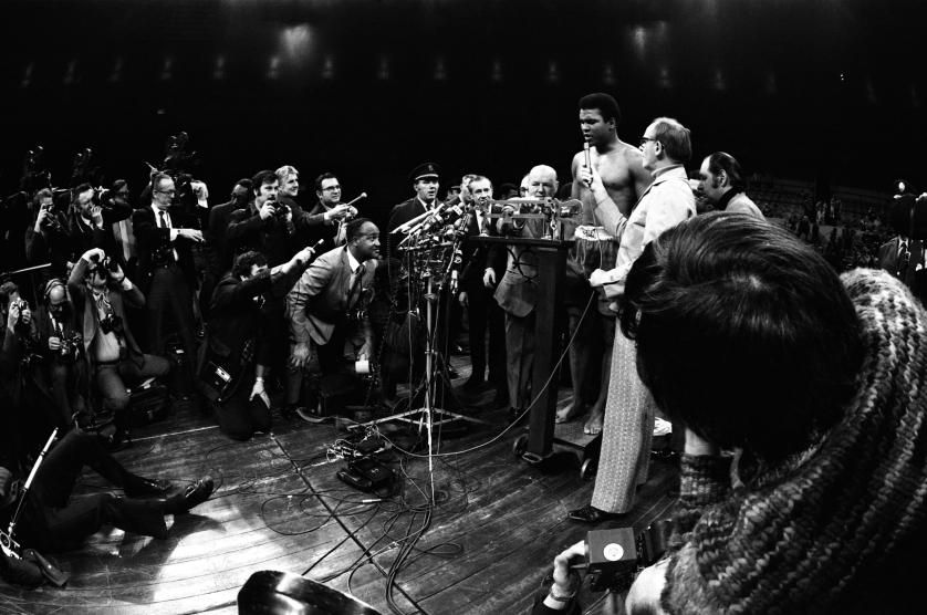 Ali speaks to the press during a pre-fight weigh-in at Madison Square Garden in New York City in March 1971 ahead of what would become known as <i>The Fight of the Century</i> where Ali would go 15 rounds with champion Joe Frazier.