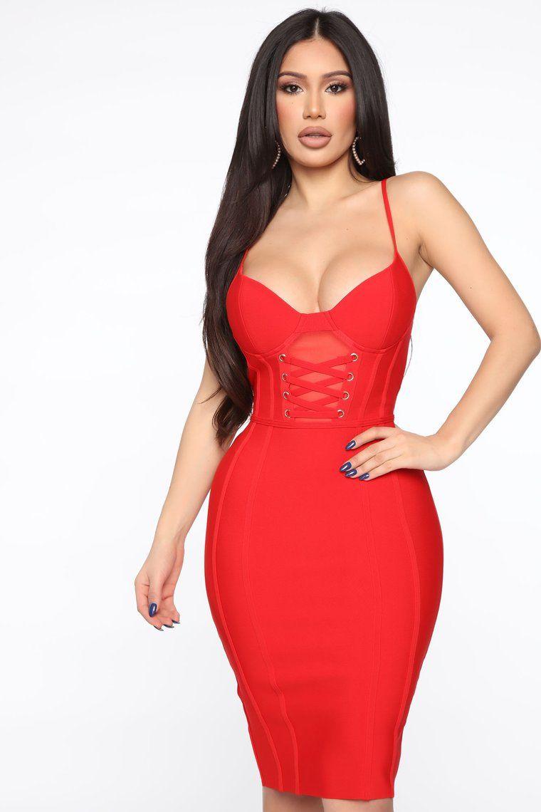 Fire In Me Midi Dress Red in 2020 Red midi dress