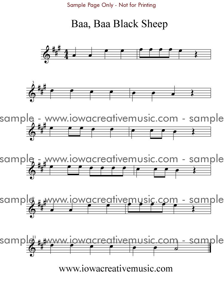 Free Violin Sheet Music Baa Baa Black Sheep Violin And Music