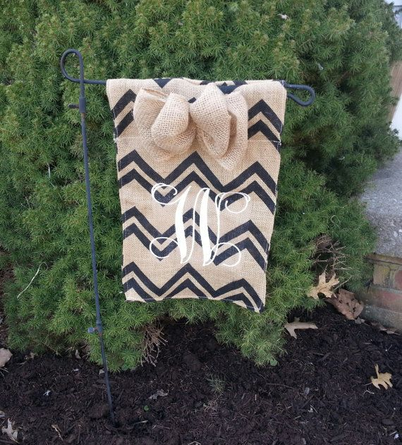 Vine, script monogram chevron garden yard flag