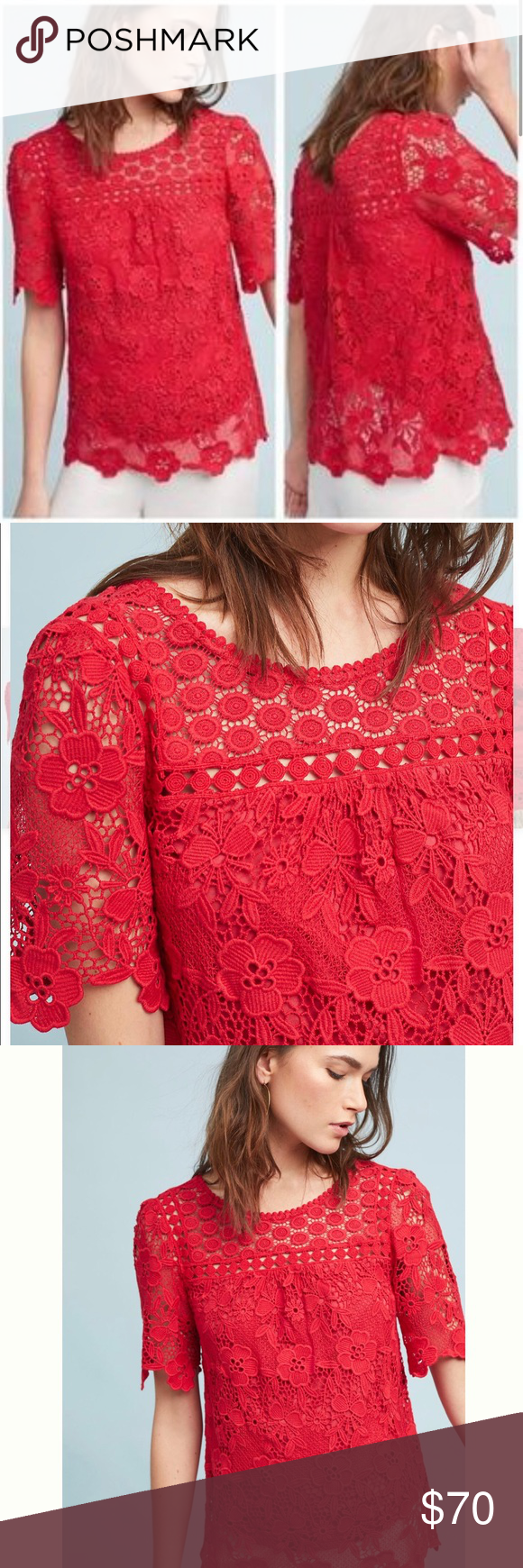 5a32a7d1e9202 Vanessa Virginia Lace Top by Anthropologie ♥ ♥️Beautiful Vanessa Virginia  Red Candace Lace Top from Anthropologie. Perfect for Valentines Day!