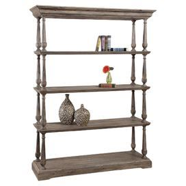 Weathered Wood Bookcase With Turned Details And 4 Tiers Product BookcaseConstruction Material Solid VeneerColor NaturalFeatures Four