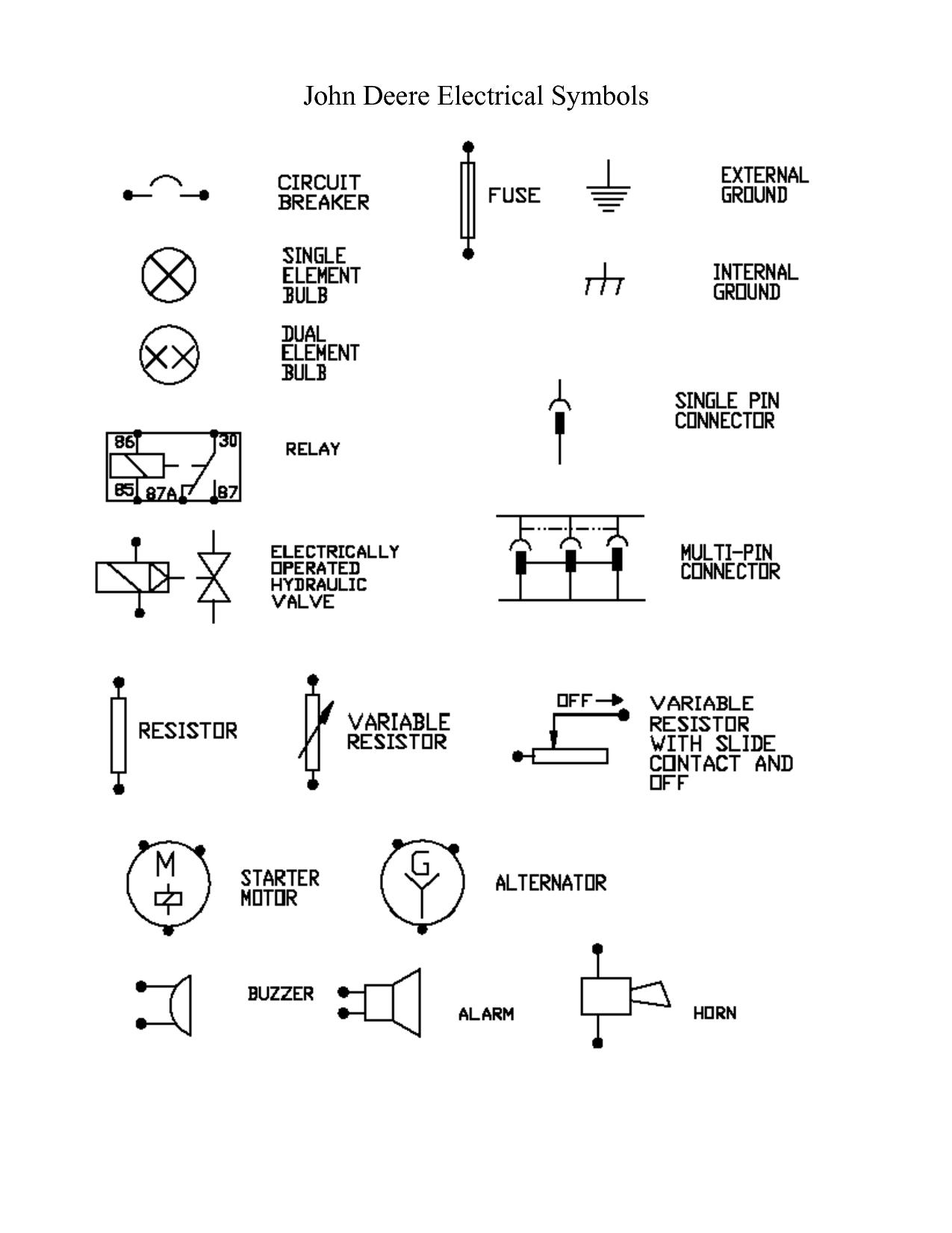 Pnuematics Symbols John Deere Electrical Symbols