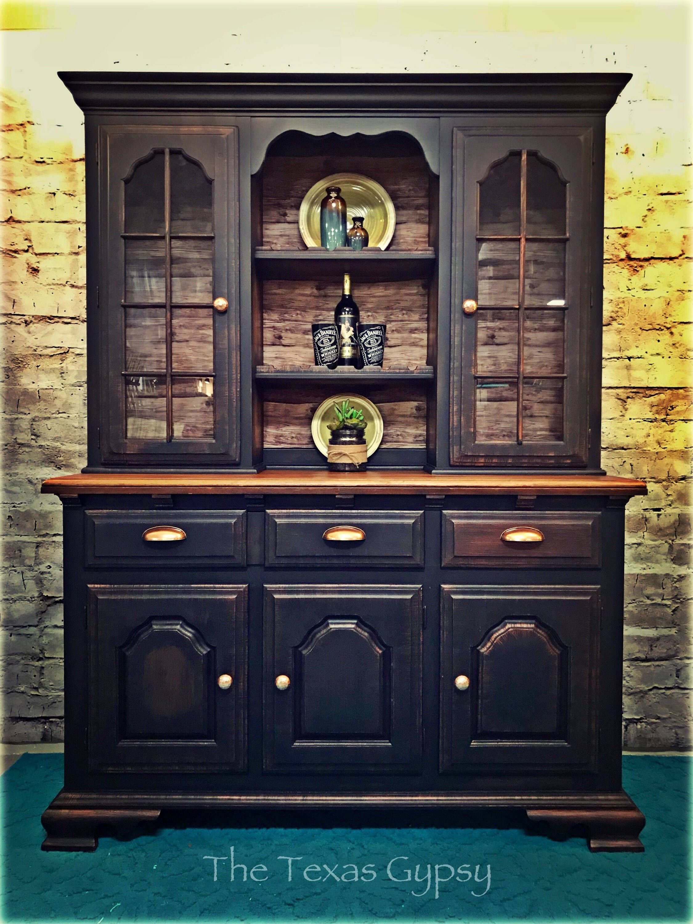 Excited to share this item from my etsy shop farmhouse hutch china cabinet solid wood bar black and copper furniture farmhouse gypsy boho