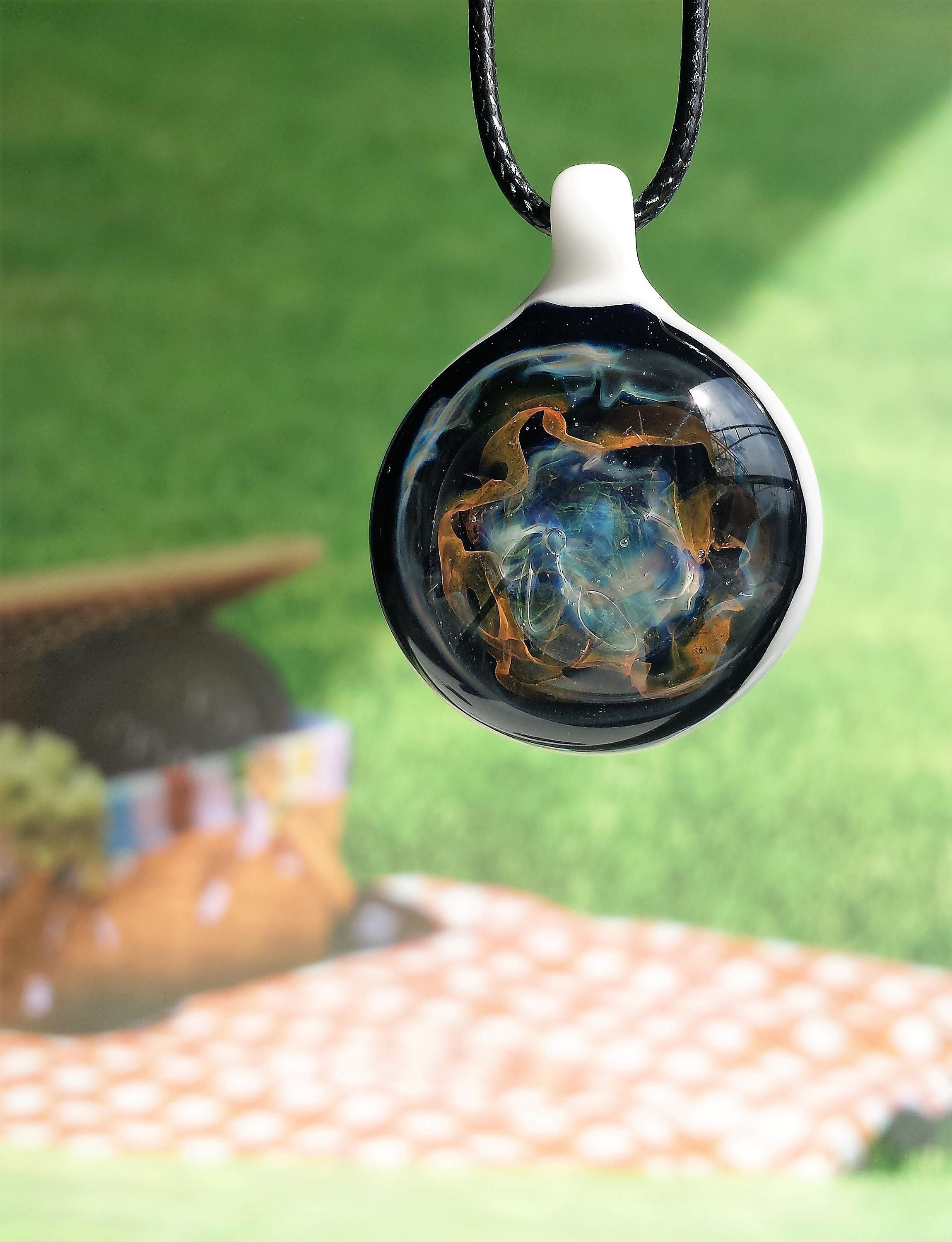 Dancing Galaxies Blown Glass Pendant Necklace Heady Glass Gift