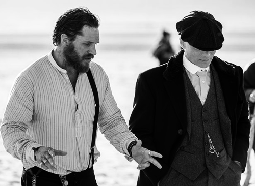 Tom Hardy and Cillian Murphy on set of Peaky Blinders on March 24, 2017 Liverpool.