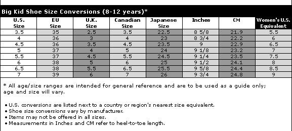 Uk junior shoe size chart cm