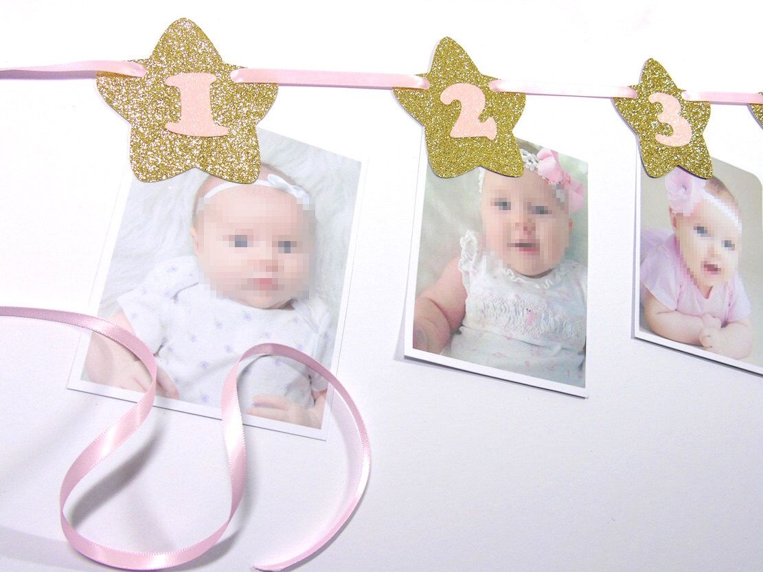 Photo Banner 12 Months Banner Twinkle Little Star Banner Etsy Pink First Birthday First Birthday Banners Birthday Banner
