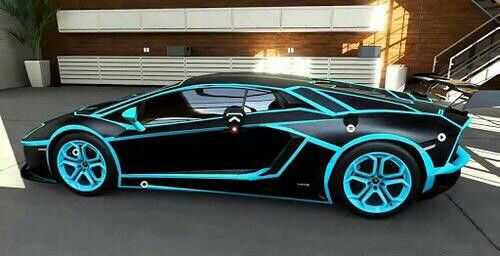 Matte Black Lamborghini With Blue Details Lamborghini Aventador