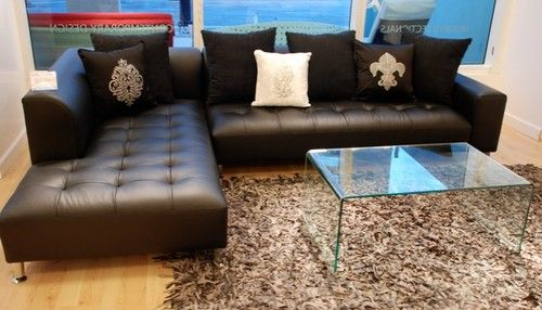 Black Leather Modern Sectional Florida Furniture Living Room Miami By