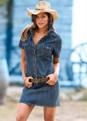 Vestido Jeans Manga Curta (Azul)