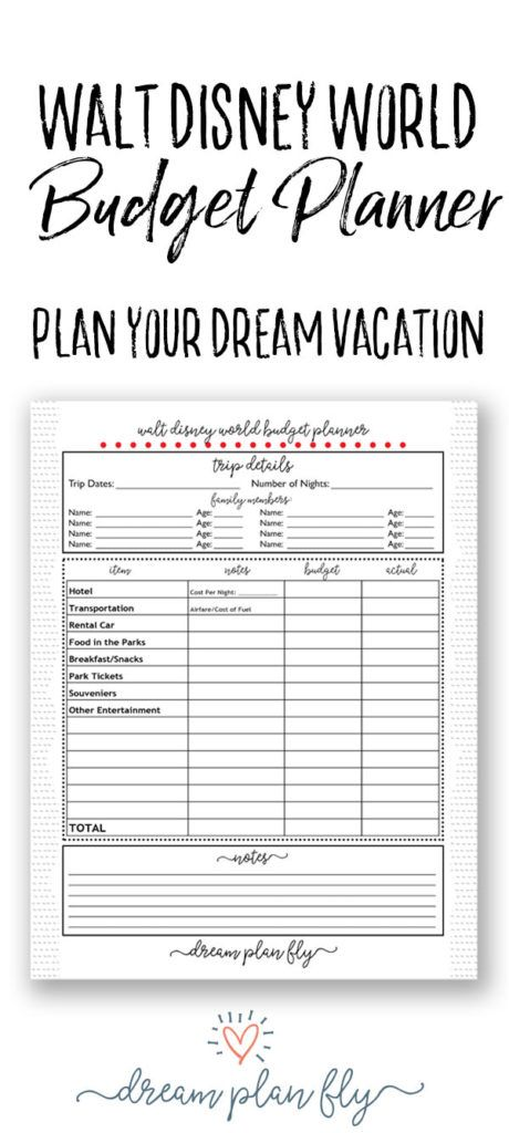walt disney world budget planner how much will this cost dream