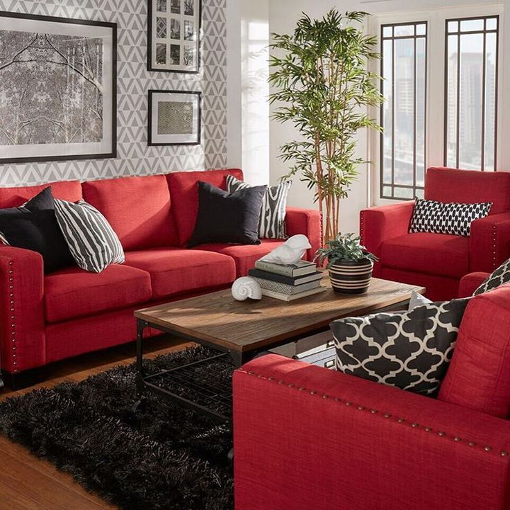 Resultado de imagen de black feature wall living room grey Living room ideas with red sofa