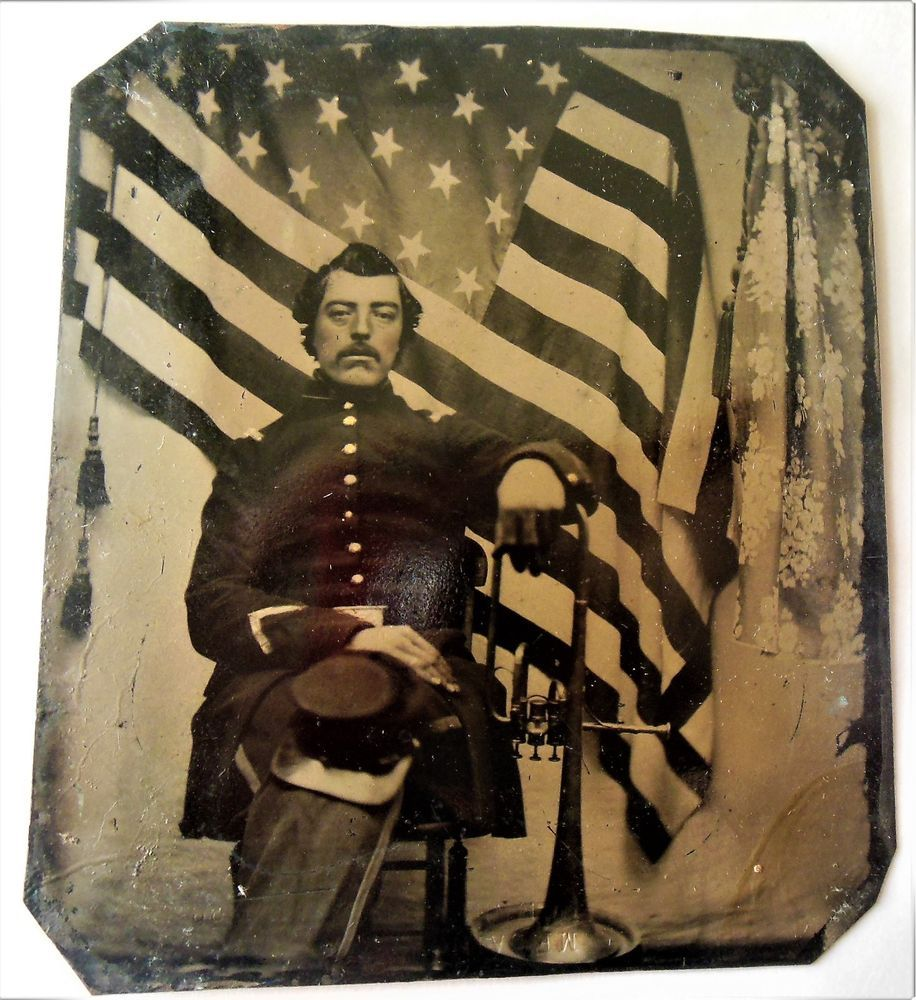Civil War Tintype Photograph Union Soldier American Flag Musical Instrument Civil War Art War Art Civil War
