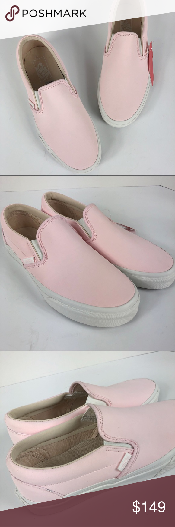 67bfc2090f6 Rare Vans slip on shoes heavenly pink leather 9 Brand new in box Vans  classic slip on in heavenly pink leather. Men s size 7.5  woman s 9 Vans  Shoes ...