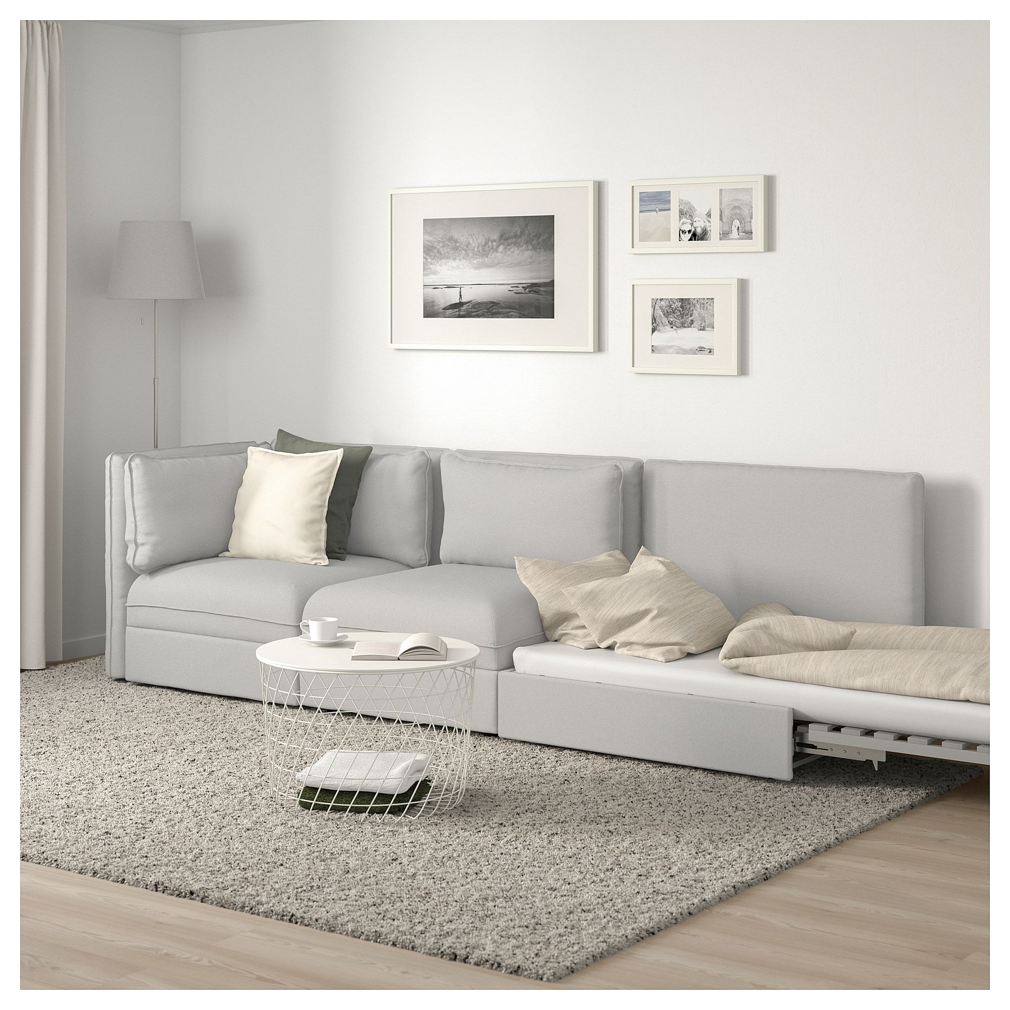 Vallentuna 3 Seat Modular Sleeper Sofa With Open End Orrsta Light Gray Ikea Modular Corner Sofa Sofa Design Corner Sofa Design