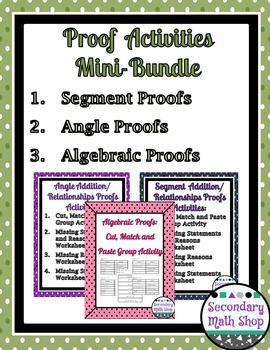 Proof Logic Segment Algebraic And Angle Proofs Cut Paste