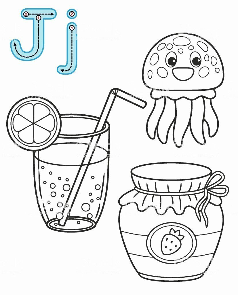 Coloring Pages Alphabet Letters Lovely Letter J Juice Jellyfish Jam Vector Coloring Book Alphabet Coloring Pages Abc Coloring Pages Kindergarten Coloring Pages