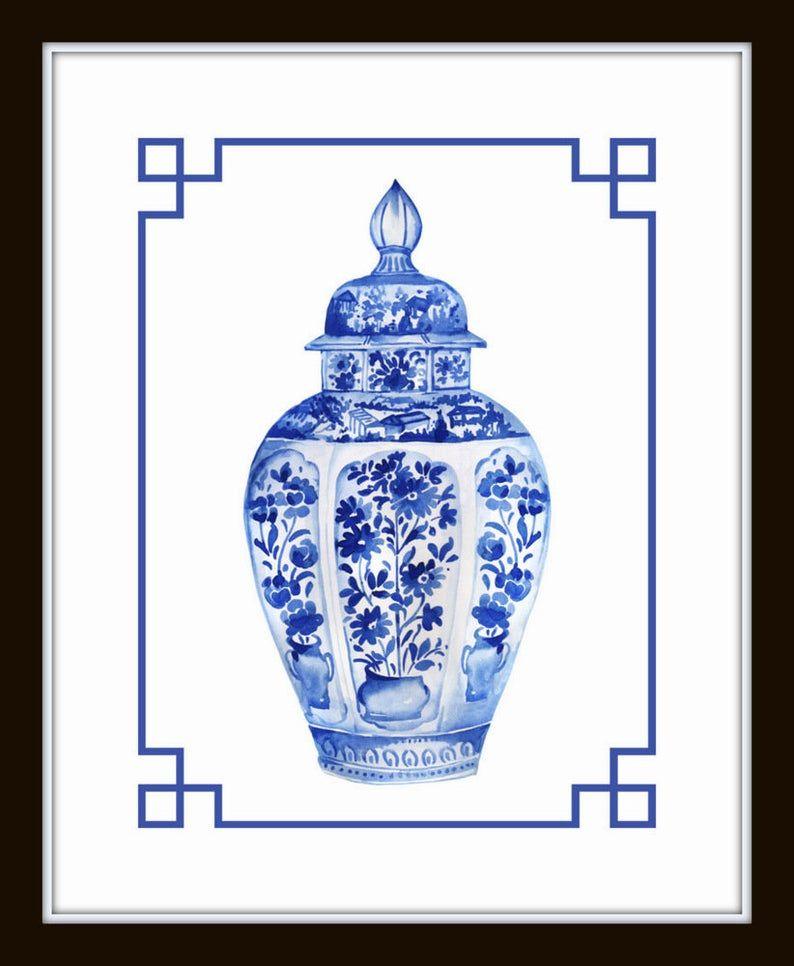 Blue and White Chinoiserie Porcelain Vase Print Set No 3 Wall Art Ginger Jar Prints Print Sets Chinese Porcelain Prints Giclee Prints