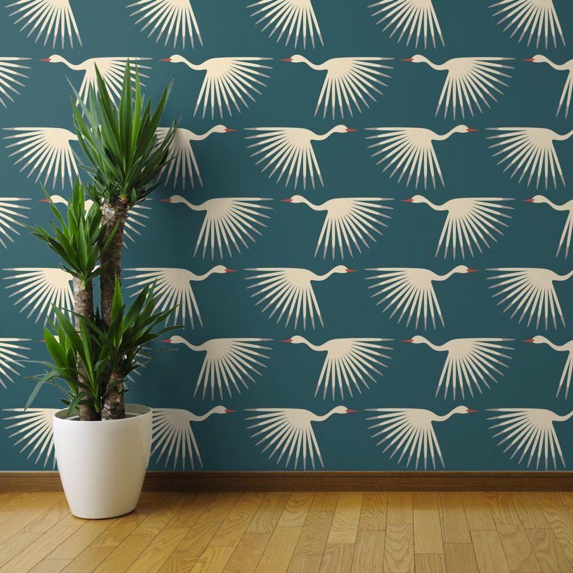 Art Deco Wallpaper Art Deco Cranes By Katerhees 1920s Teal Etsy In 2021 Teal Decor Art Deco Wallpaper Wallpaper Panels