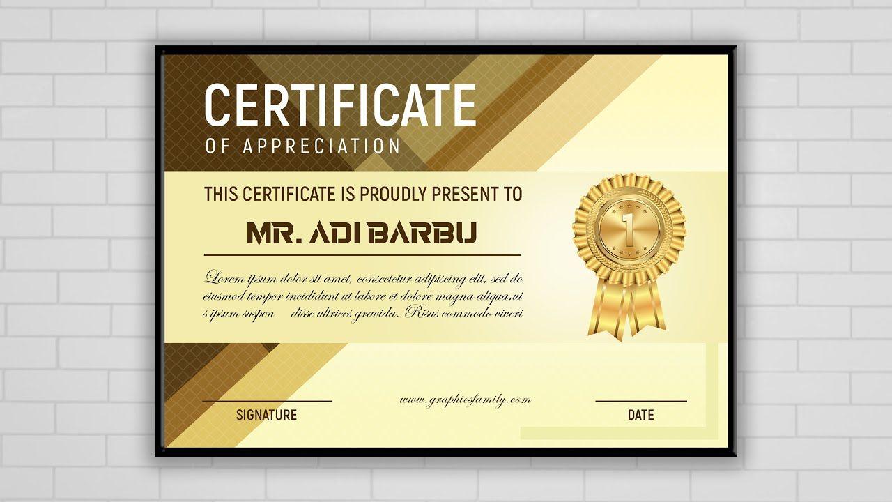 Luxury Certificate Template Design Photoshop Cc Tutorial Certificate Design Certificate Templates Template Design