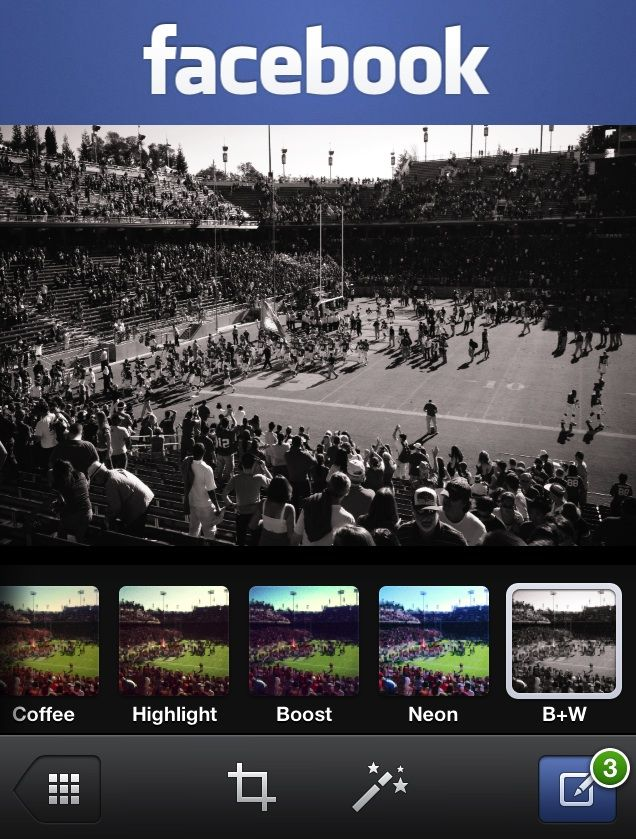 Facebook iOS app gets photo filters and sending gifts