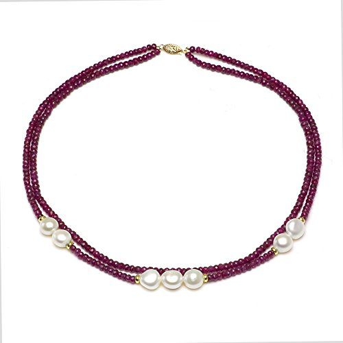 "14k Yellow Gold 9-10mm Freshwater Cultured Pearl, 2-rows 3-4mm Red Ruby Necklace, 18"" La Regis Jewelry http://www.amazon.com/dp/B00B89C27Q/ref=cm_sw_r_pi_dp_8ff-vb0QPV70C"