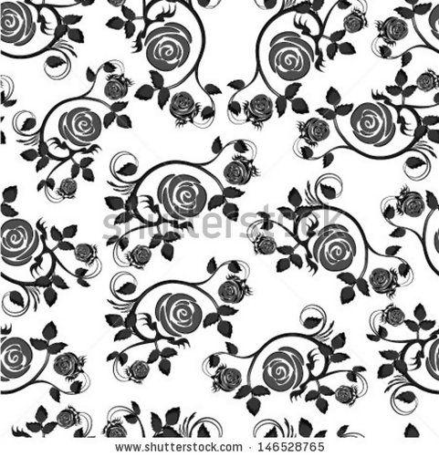 Black Flower Rose From Lace On White Background: Black Rose Seamless Background Floral Pattern Dark Vintage