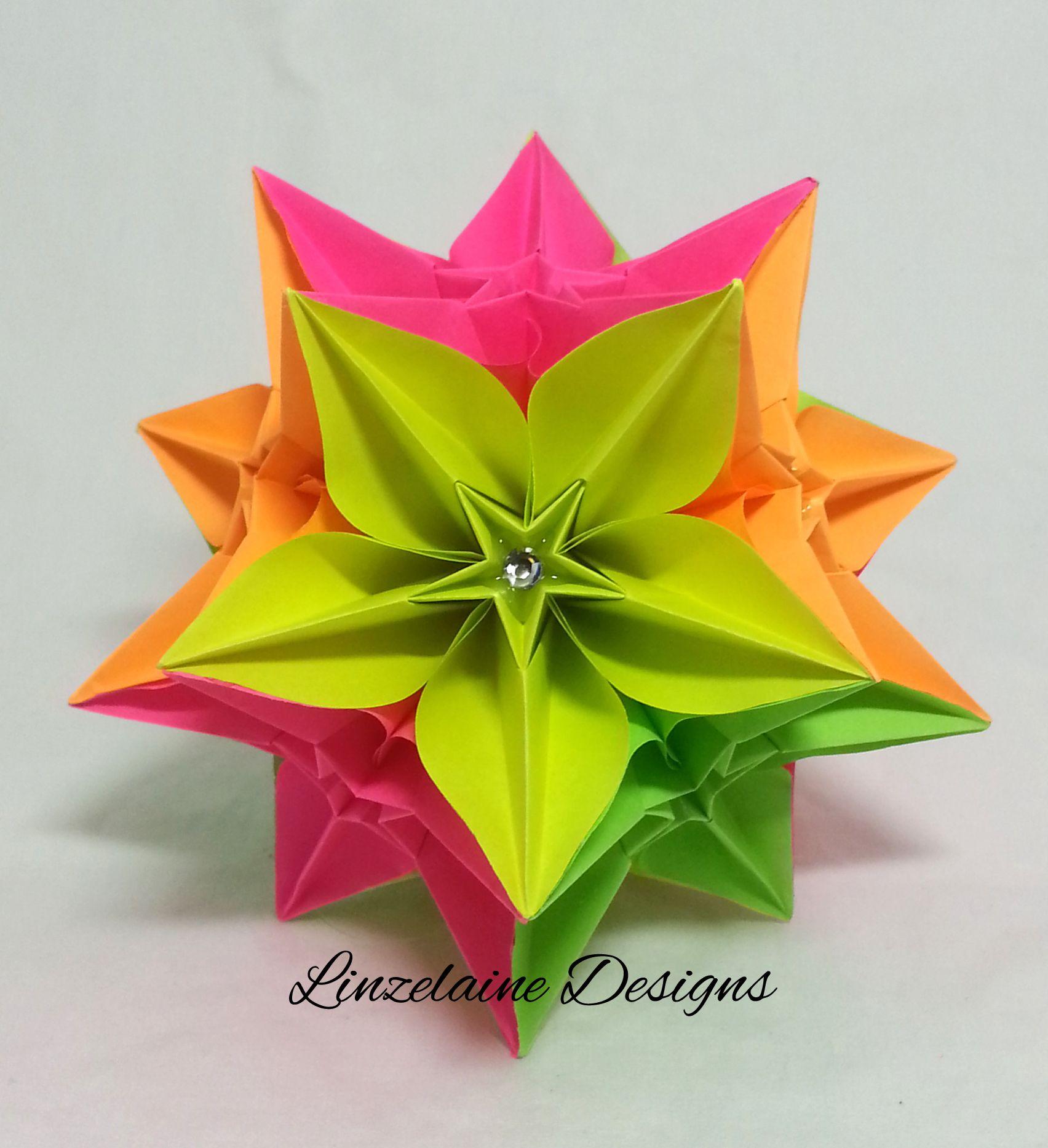 Kusudama Paper Flower Origami Carambola Neon My Paper
