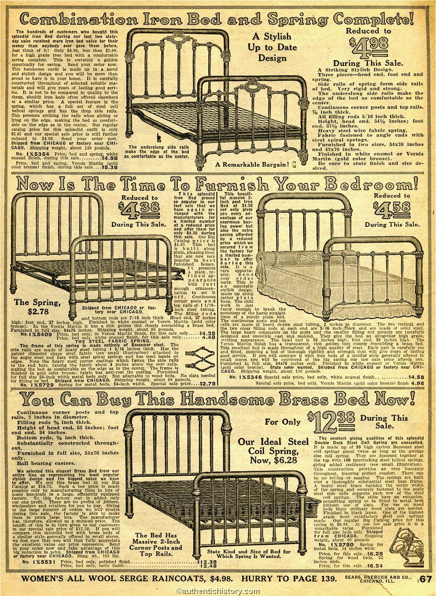 1914 Sears Household Catalog Bed Frames Early 20th