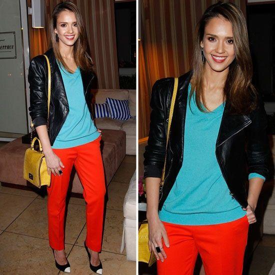 jessica-alba-brad-goreski-party-color-blocking-orange-pants
