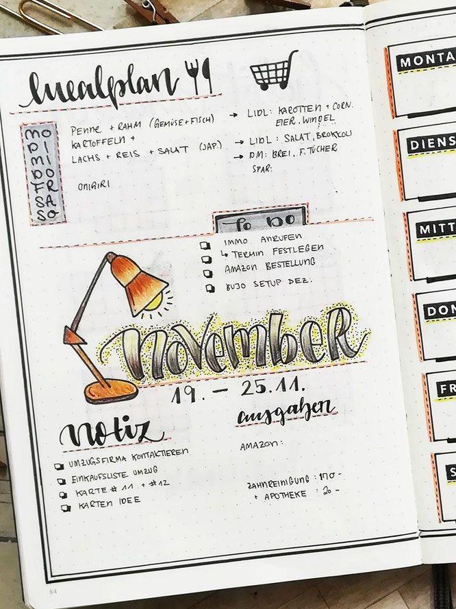 Bullet Journal Weekly November Idee Doodle Lampen #novemberbulletjournalcover