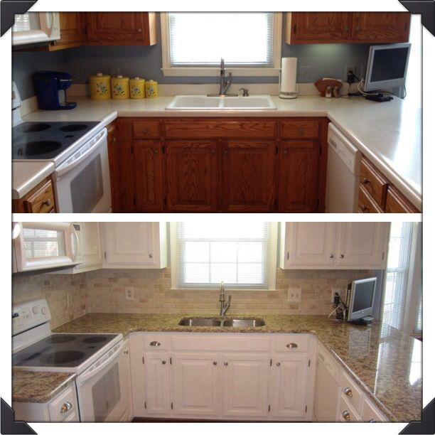 My kitchen before after using annie sloan chalk paint for Before and after pictures of painted laminate kitchen cabinets