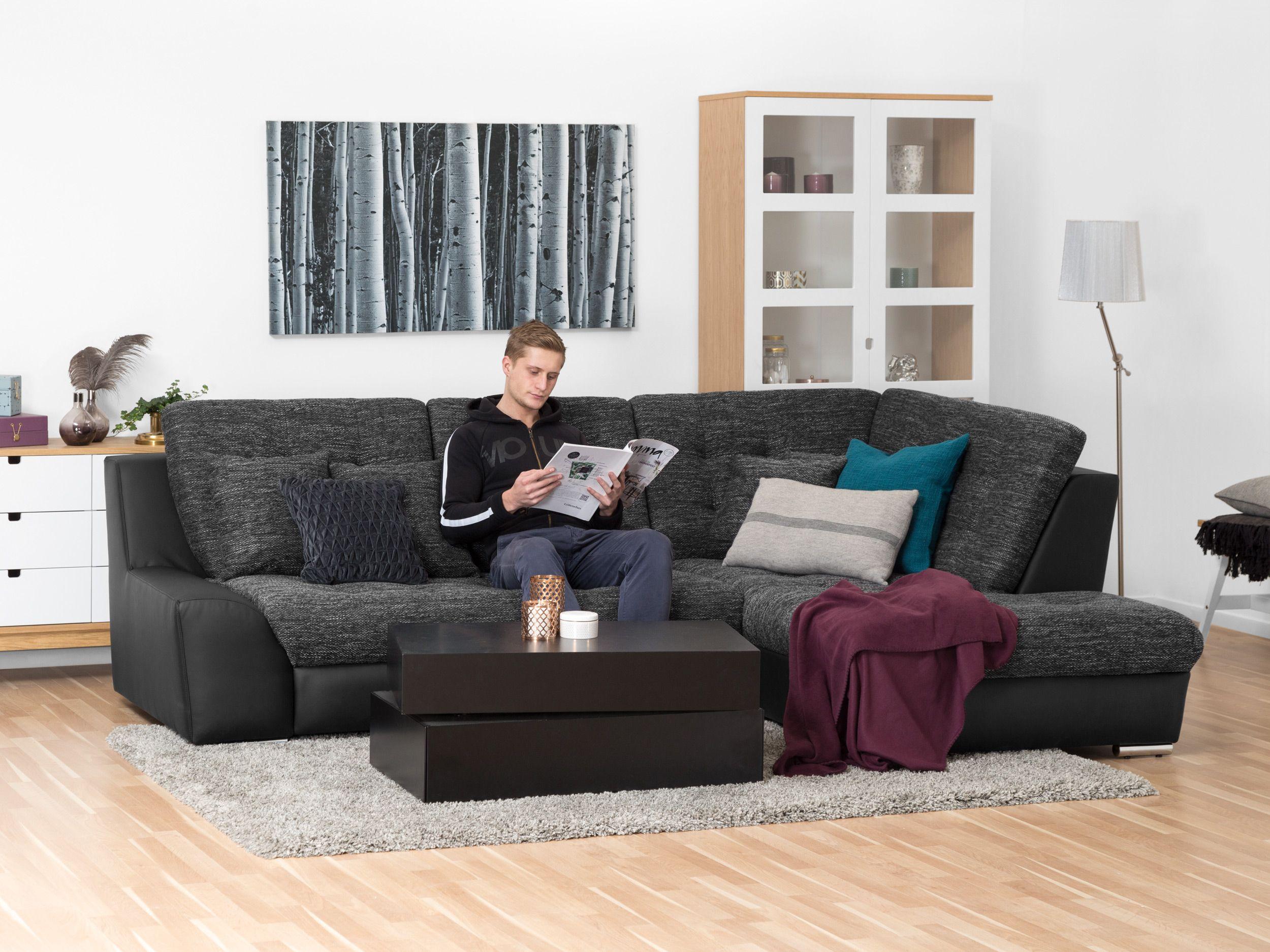 Arnis l soffa svart/grå   annorlunda l soffa i svart ...