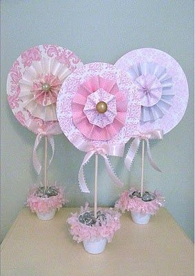 DIY Rosette Lollipop Topiaries Nice for baby cards maybe ?
