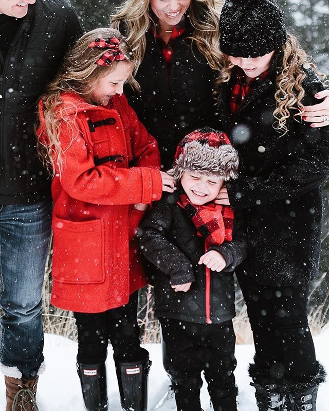 A cute candid family Christmas photo.