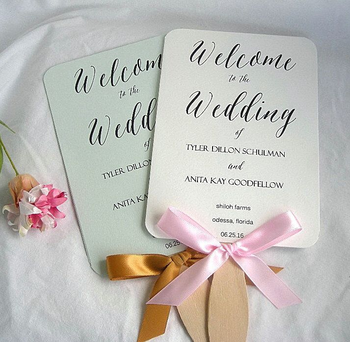Wedding Fans Rustic Program Fan Ivory Turquoise Mint Green Programs Paddle Custom Any Color