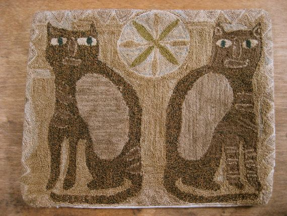 primitive folk art cat punch needle embroidery by thesimplequiet