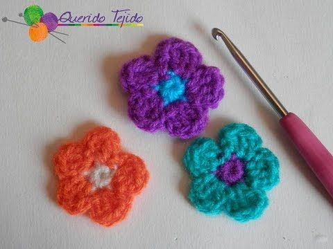 Flor 5 petalos a crochet - YouTube   crochet   Pinterest   Youtube ...