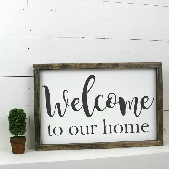 welcome to our home sign wooden wood framed sign industrial country rh pinterest com