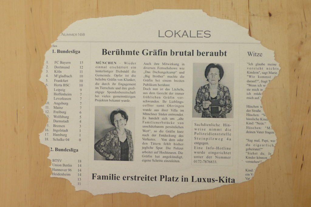 Zeitungsartikel Diebstahl Detektiv Detektiv Party