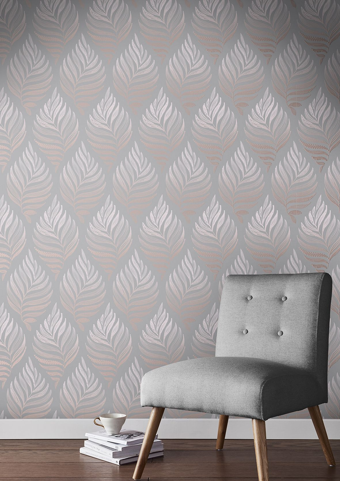 Botanica Blush Wallpaper Grey And Brown Living Room B