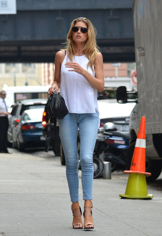 white top with light denim and nude heels | Simple && Chic ...
