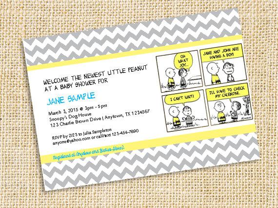 Peanuts Charlie Brown Snoopy Baby Shower Printable Invitation