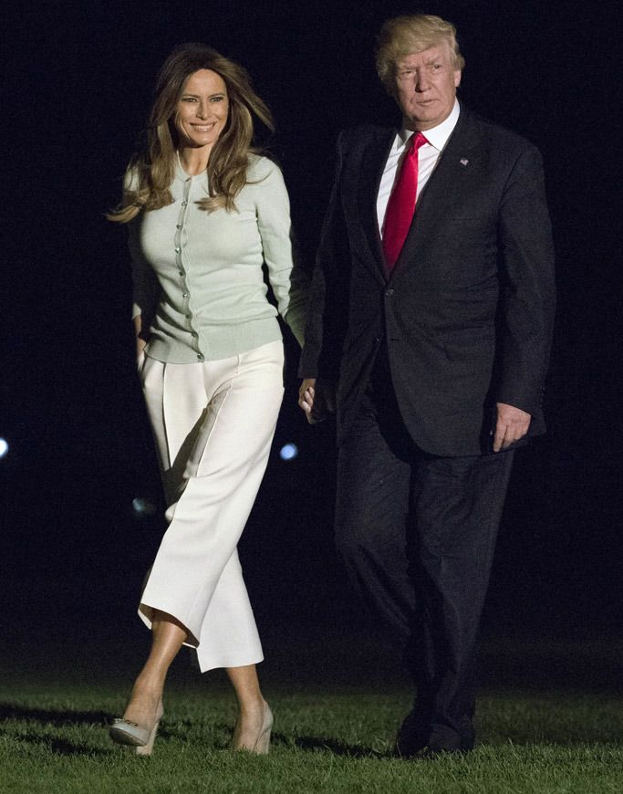 Melania Trump Wraps Overseas Trip in Culottes & These Comfy 4-Inch Block  Heels